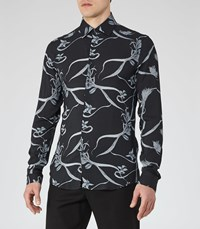 Reiss Octavious Mens Printed Shirt In Blue