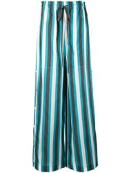 Ports 1961 Striped Palazzo Pants Women Cotton Cupro 40 Black