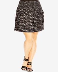 City Chic Plus Size Dot Print Pleated Fit And Flare Skirt Black