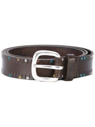 Orciani Dotted Belt Men Leather 100 Brown
