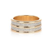 River Island Womens Gold Tone Double Row Glitter Ring