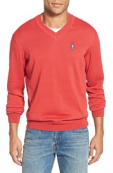 Men's Psycho Bunny Regular Fit V Neck Sweater Samurai Red