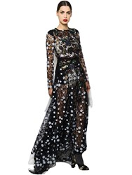 Antonio Marras Embroidered Macrame Lace Long Dress