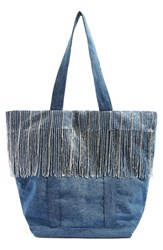 Topshop Jessie Fringe Denim Shopper Blue Blue Multi