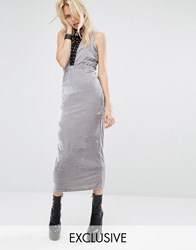 Story Of Lola Bodycon Maxi Dress With Cut Outs And Lace Detail In Velour Silver