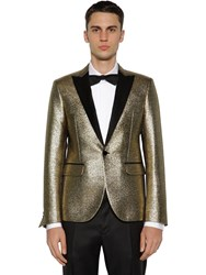 Dsquared Tokyo Silk And Wool Lame Evening Jacket Gold