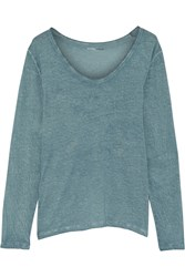 Majestic Overdyed Cotton Cashmere And Silk Blend Jersey Top Blue