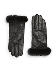 Saks Fifth Avenue Leather And Mink Fur Texting Gloves Black