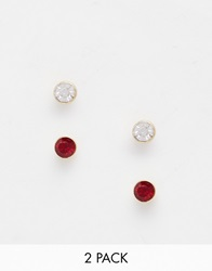 Warehouse Mini Stud 2 Pack Earrings Gold