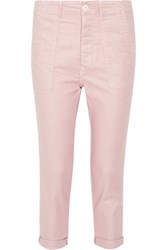 The Great Cropped Stretch Twill Tapered Pants Pastel Pink