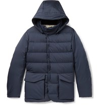 Loro Piana Clearwater Quilted Storm System Shell Hooded Down Jacket Blue