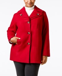 London Fog Plus Size Single Breasted Peacoat Red