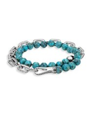 John Hardy Turquoise And Silver Double Wrap Bracelet Blue