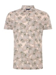 Criminal Pineapple Print Short Sleeve Shirt Pink