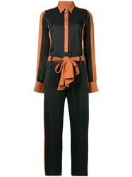 Just Cavalli Long Sleeve Contrast Jumpsuit Black