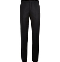 Givenchy Slim Fit Leather Trimmed Wool Flannel Trousers Black