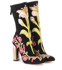 Alexander Mcqueen Embroidered Suede Ankle Boots Multicoloured