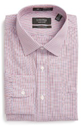 Nordstrom Men's Big And Tall Men's Shop Smartcare Tm Traditional Fit Check Dress Shirt Red Barbados