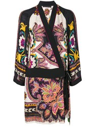 Etro Floral Print Wrap Dress Women Silk Viscose 42