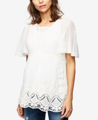 A Pea In The Pod Maternity Embroidered Lace Tunic White