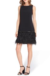 Tahari Crystal Feather Hem Shift Dress Black