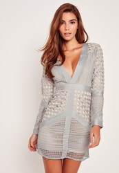 Missguided Lace Plunge Bodycon Dress Grey