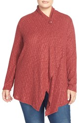 Bobeau Rib Knit One Button Cardigan Plus Size Wine Mustard