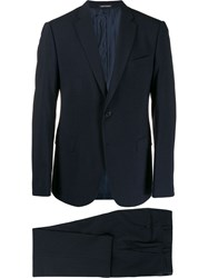 Emporio Armani Check Print Two Piece Suit Blue
