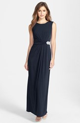 Women's Ellen Tracy Embellished Waist Back Drape Jersey Gown Navy
