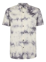 Topman Blue And White Marble Effect Short Sleeve Casual Shirt