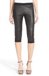 Women's Atm Anthony Thomas Melillo Crop Stretch Leather Track Pants Black