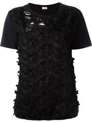 Giamba Lips Patches Lace Front T Shirt Black