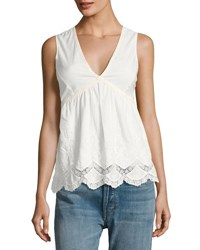 Romeo And Juliet Couture Sleeveless Lace Trim Cotton Top White