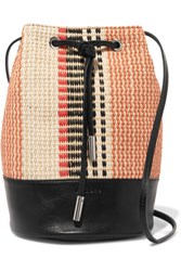 Sandro Angel Leather Trimmed Woven Cotton And Raffia Bucket Bag Multi