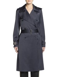 Lanvin Satin Trenchcoat Midnight Blue