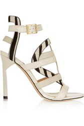 Jimmy Choo Vanquish Elaphe And Zebra Print Calf Hair Sandals