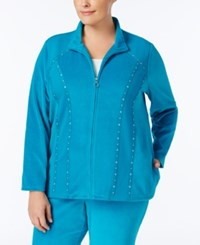 Alfred Dunner Plus Size Embellished Velour Jacket Bright Blue