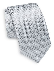 Saks Fifth Avenue Square Pattern Silk Tie Grey