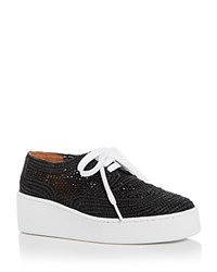 Robert Clergerie Women's Taille Raffia Lace Up Platform Sneakers Black