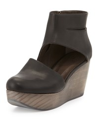 Coclico Hop Leather Wedge Clog Black Women's