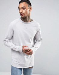 Asos Oversized Long Sleeve T Shirt With Reverse Details And Raglan Sleeves Grey