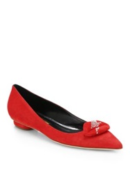 Rupert Sanderson Bolero Lip Detail Suede Flats Honey Navy