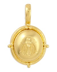 19K Gold Oval Honey Bee Pendant Elizabeth Locke