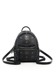 Mcm Bebe Boo X Mini Studded Coated Canvas Backpack White Black