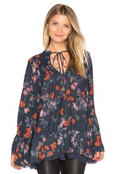 Free People Pebble Crepe So Fine Smoked Tunic Top Navy