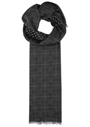 Paul Smith Black Jacquard Scarf Black And White