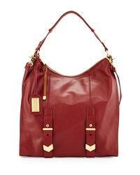 Badgley Mischka Helena Leather Hobo Bag Wine Red