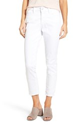 Nydj Women's Nichelle Frayed Stretch Twill Ankle Pants Optic White
