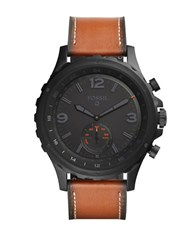 Fossil Q Nate Leather Strap Smart Watch Brown