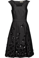Michael Kors Collection Pleated Embellished Wool And Silk Blend Shantung Dress Black